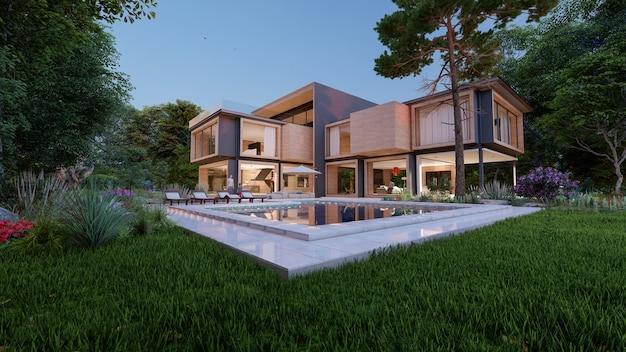 Rendering 3d dużego nowoczesnego współczesnego domu z drewna i betonu