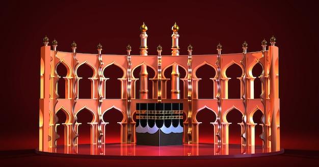 Rendering 3d islamskiego meczetu pielgrzymkowego