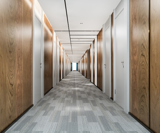Rendering 3d nowoczesny luksusowy korytarz hotelowy z drewna i płytek