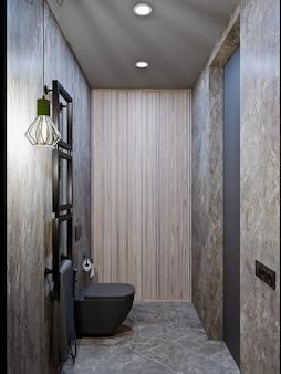 Rendering 3d nowoczesny projekt łazienki z płytkami pod betonem i marmurem