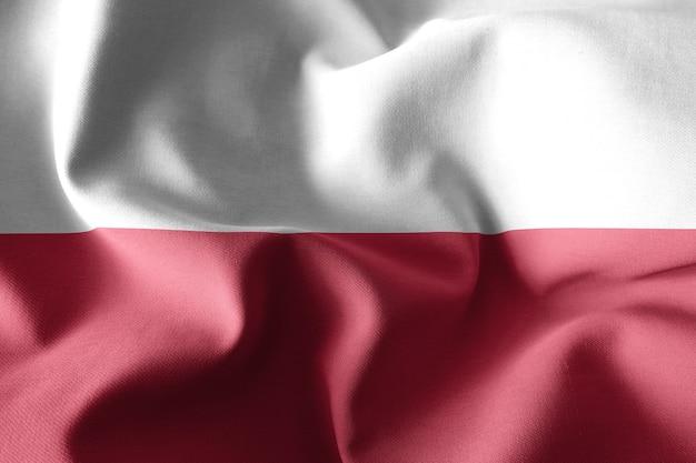 Rendering 3d realistyczna falująca jedwabna flaga polski