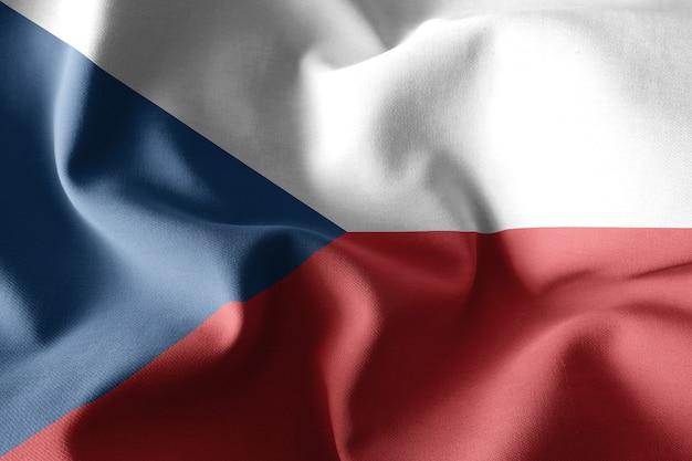 Rendering 3d realistyczna falująca jedwabna flaga republiki czeskiej