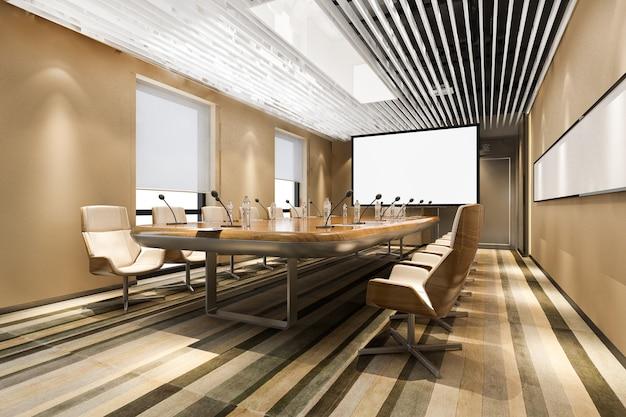 Rendering 3d sala konferencyjna biznesowa w budynku biurowym