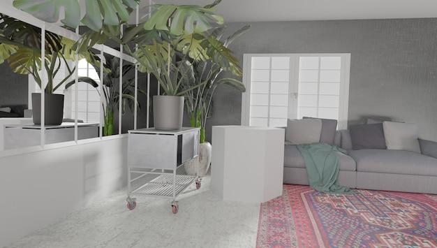 Rendering 3d słonecznego wnętrza pokoju z witrażami i roślinami na powierzchni z podium do wyświetlania produktów