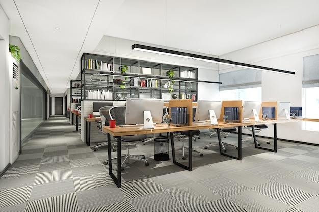 Rendering 3d spotkanie biznesowe i pokój do pracy w budynku biurowym