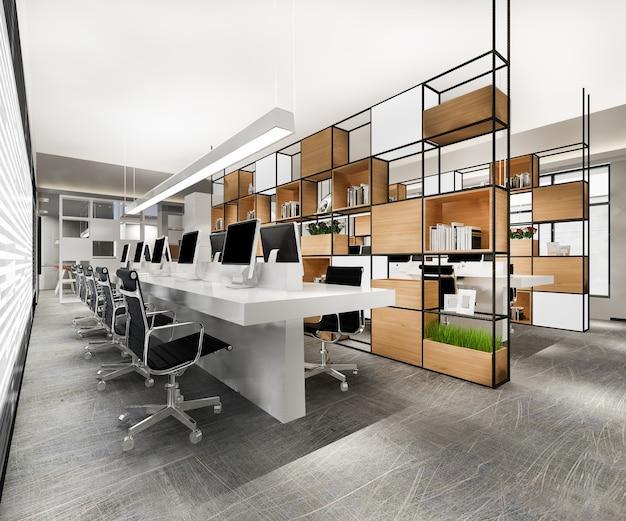 Rendering 3d spotkanie biznesowe i pokój pracy na budynku biurowym