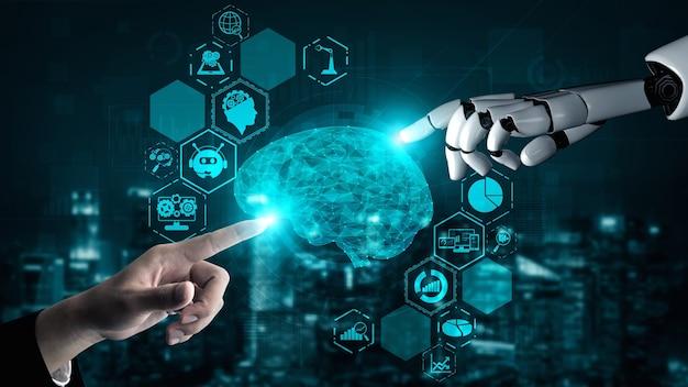 Rendering 3d sztuczna inteligencja badania ai nad rozwojem robotów i cyborgów dla przyszłości ludzi żyjących