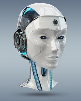 Rendering 3d sztucznej inteligencji głowy cyborg