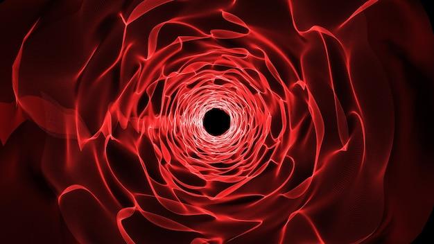 Rendering 3d tunelu utworzonego przez morze czerwonych fal i ruchomych linii przypominających tunel czasoprzestrzenny lub portal teleportacyjny z nieregularną czarną dziurą w tle