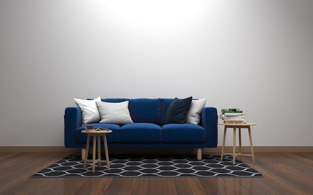 Rendering 3d wnętrza nowoczesnego salonu z sofą - kanapą i stołem