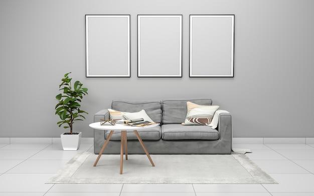 Rendering 3d wnętrza nowoczesnego salonu z sofą, kanapą i stołem