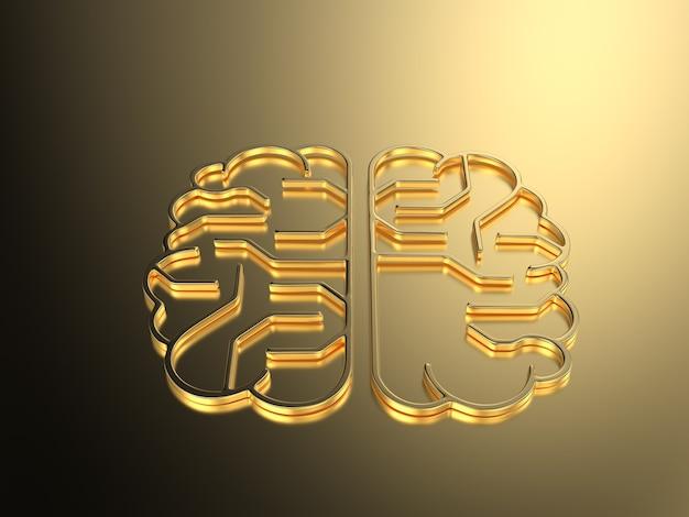 Rendering 3d złoty mózg sztucznej inteligencji lub płytka drukowana w kształcie mózgu