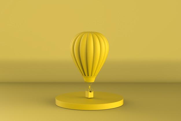 Rendering 3d żółty balon na gorące powietrze lata na żółtym tle