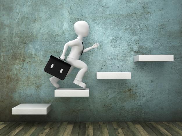 Rendering ilustracja kreskówka osoba działa na schodach