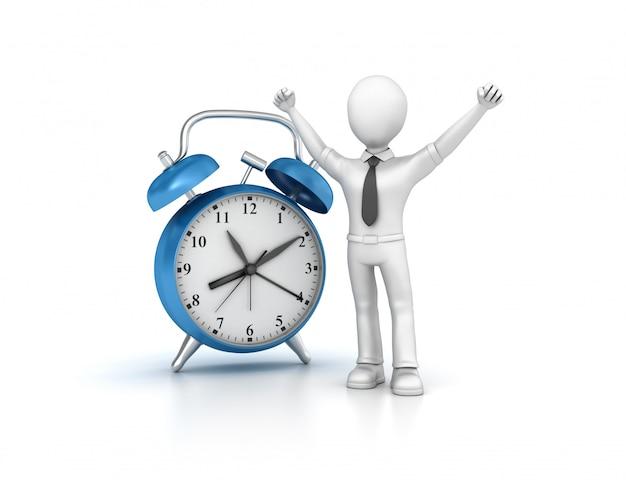 Rendering ilustracja zegar z kreskówek biznesowych