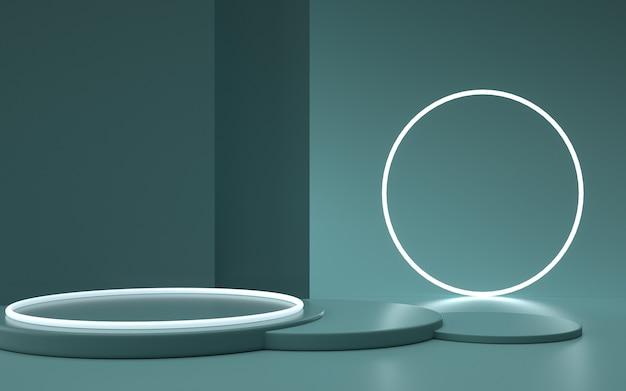 Rendering platformy geometrycznej z okrągłym podium na stojak na produkty