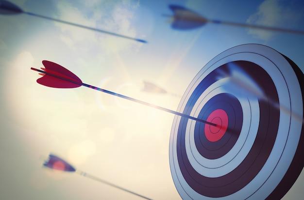 Rendering strzały uderzającej w środek celu
