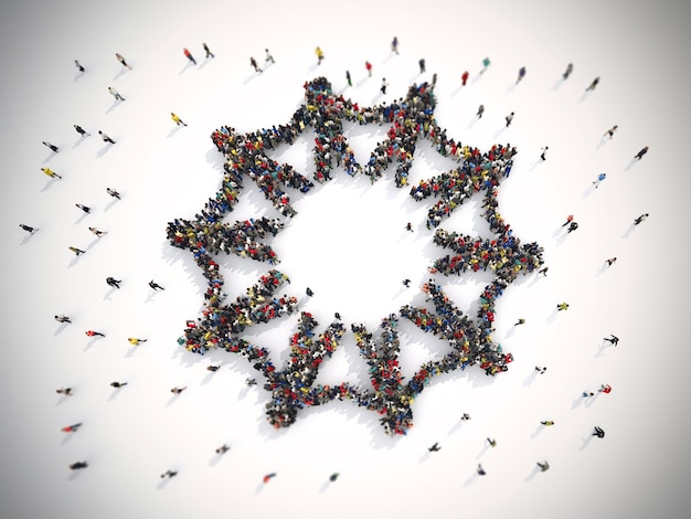 Rendering tłumu ludzi, którzy są symbolem solidarności na świecie