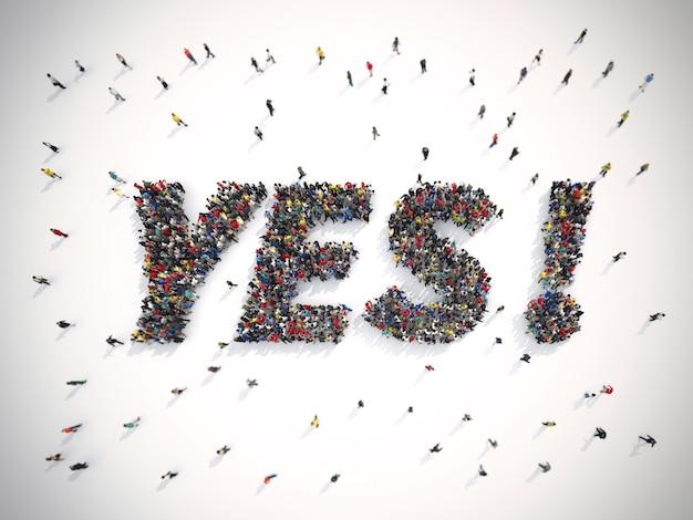 Rendering tłumu ludzi zjednoczonych tworzących słowo tak