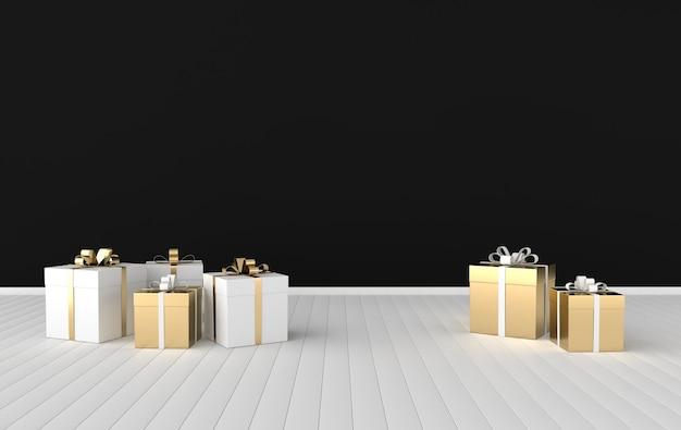 Rendering wnętrza z białym pudełkiem z kokardą ze złotej wstążki