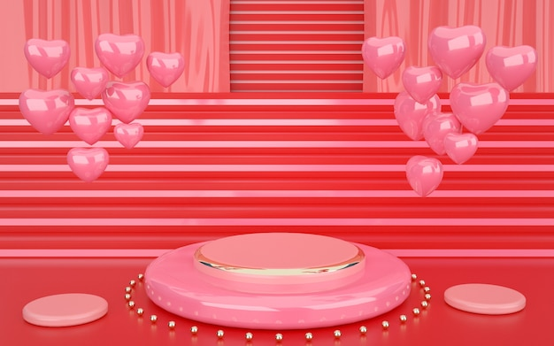 Renderingi 3d geometrycznego różu z dekoracyjnymi sercami i podium do prezentacji produktów