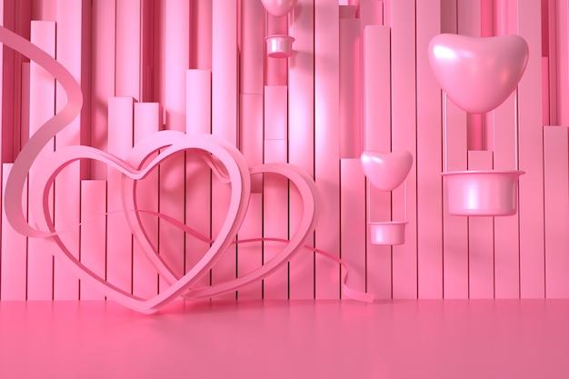 Renderingi 3d geometrycznego różu z dekoracyjnymi sercami na wystawie produktów