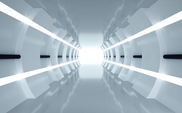 Renderingi cinema 4d tła tunelu ze światłem do wyświetlania makiety