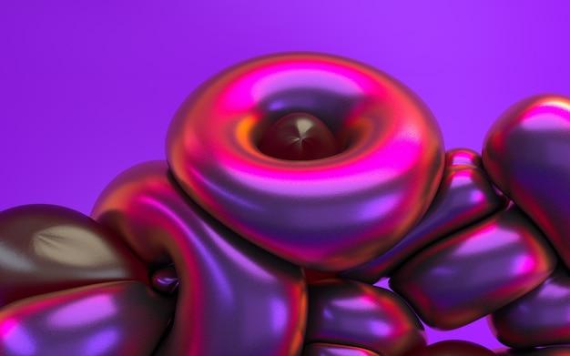 Renderingu 3d abstrakcja w różowym purpurowym neonowym świetle z błyszczącym odbiciem. holograficzny opalizujący efekt tła.