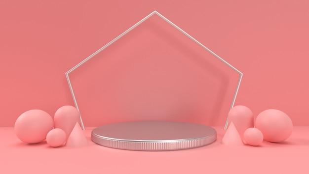 Renderingu 3d abstrakcjonistyczny geometryczny, scena, podium, scena i pokaz. z różowym kolorem.