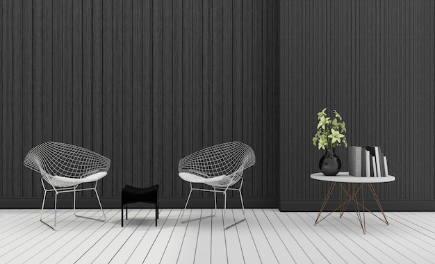 Renderingu 3d ciemny nowoczesny nowoczesny fotel z roślin