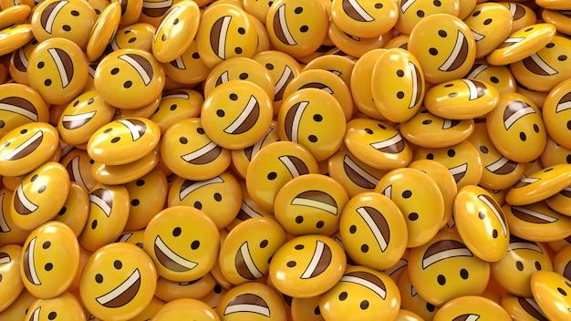 Renderingu 3d dużo uśmiechniętych emotikonów w błyszczących pigułkach