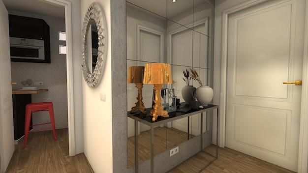 Renderingu 3d elegancka i luksusowa sala