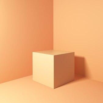 Renderingu 3d geometryczne podium na pomarańczowym tle