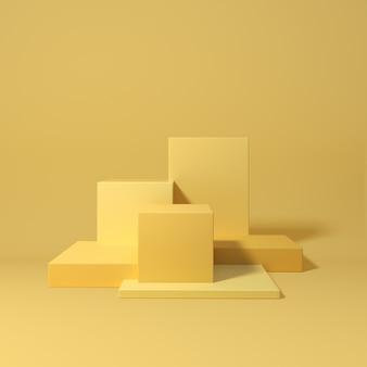 Renderingu 3d geometryczne podium na żółtym tle
