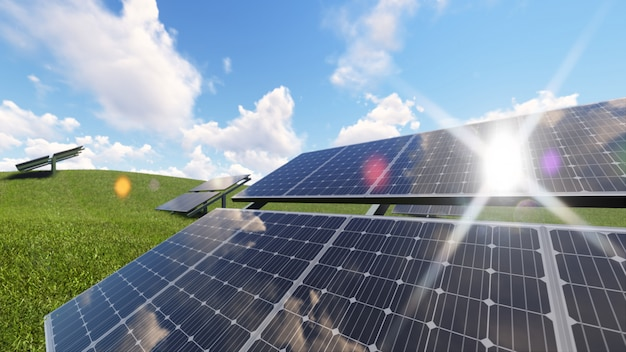 Renderingu 3d ilustracja energii ogniw słonecznych