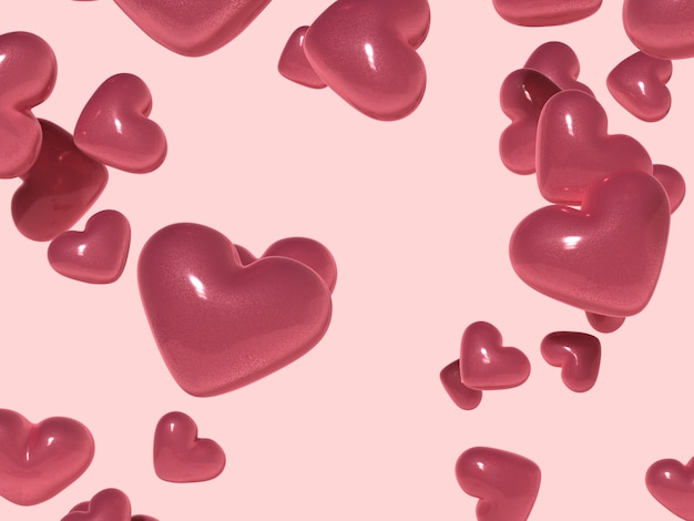 Renderingu 3d kształt serca błyszczący różowy miłość niespodzianka valentine prezent
