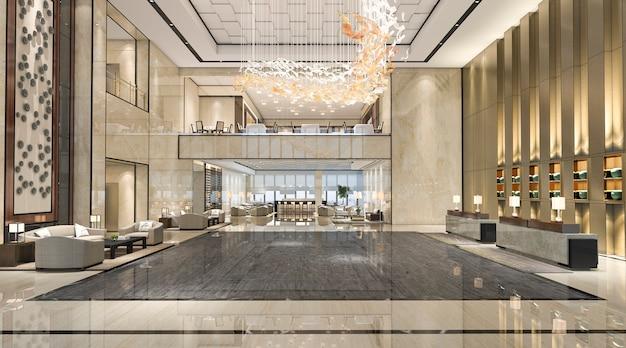 Renderingu 3d luksusowy hol recepcyjny i restauracja w holu