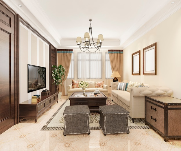 Renderingu 3d luksusowy i klasyczny salon z amerykańskim stylem vintage