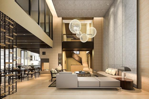 Renderingu 3d luksusowy i nowoczesny salon i jadalnia