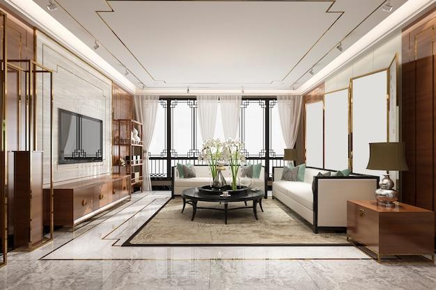 Renderingu 3d luksusowy i nowoczesny salon z wystrojem w stylu chińskim