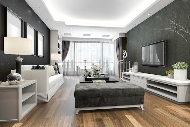 Renderingu 3d luksusowy i nowoczesny salon z żyrandolem