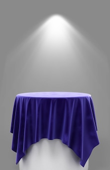 Renderingu 3d niebieskiej tkaniny welurowej na okrągłym cokole na szarym tle z oświetleniem