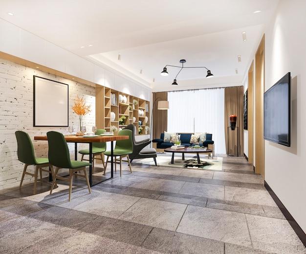 Renderingu 3d nowoczesna jadalnia i salon z luksusowym wystrojem i zielonym krzesłem