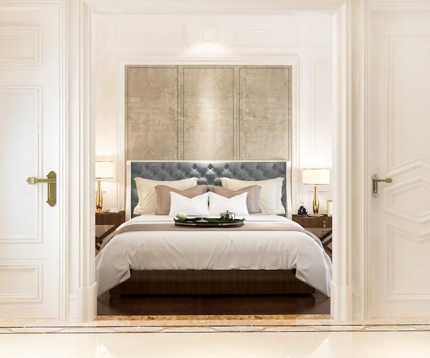 Renderingu 3d nowoczesna luksusowa klasyczna sypialnia z marmurowym wystrojem