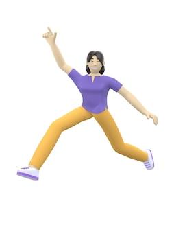 Renderingu 3d postać azjatyckiej dziewczyny, skoki i taniec, trzymając ręce do góry.