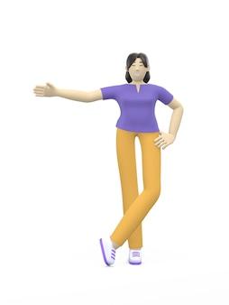 Renderingu 3d postać azjatyckiej dziewczyny z boku na bok. miejsce na tekst, układ, szablon, czyste puste miejsce.