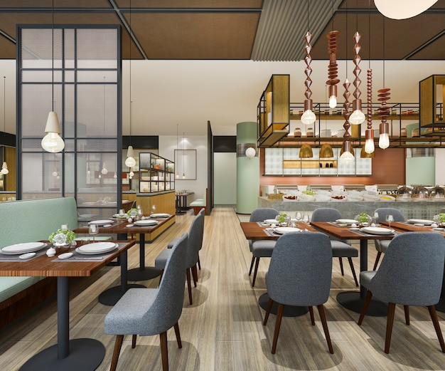 Renderingu 3d przyjęcie na poddaszu i luksusowy hotel oraz restauracja vintage cafe lounge
