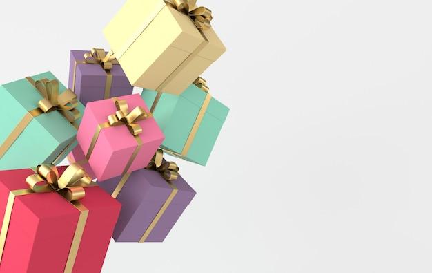 Renderingu 3d realistyczne kolorowe pudełko z kokardą złotą wstążką