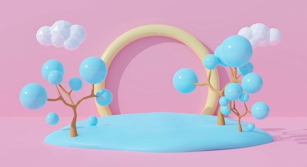 Renderingu 3d ślicznej tęczy z pastelowym abstrakcyjnym drzewem.