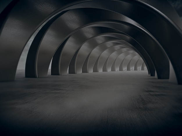 Renderingu 3d stalowy tunel samochodowy